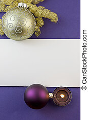 gold scroll bauble on purple card - blank Christmas card...
