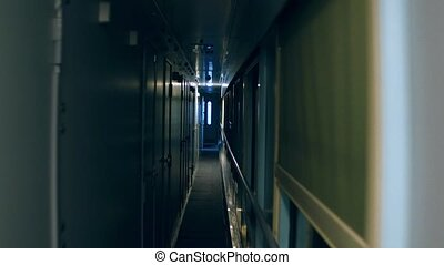 Point of view steadicam shot of a train corridor at night....