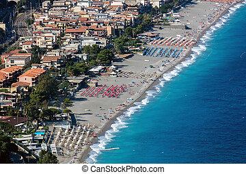 Beach in Taormina, Sicily, Italy - Taormina is Sicily's most...