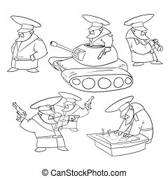 Vector Cartoon General - Line drawing vector illustration of...