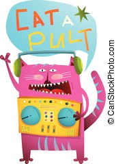 Cat DJ playing music with pult humorous catapult print...
