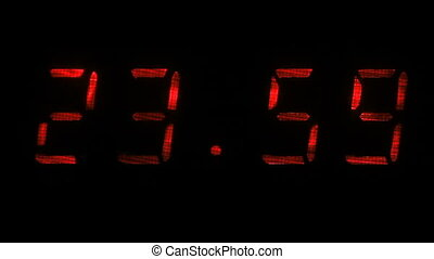 Digital clock shows the time of 23 hours 59 minutes to 00...