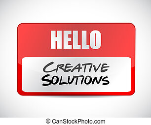 creative solutions name tag sign concept illustration design...