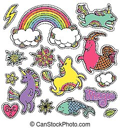 Fashion patch badge elements in cartoon 80s-90s comic style....
