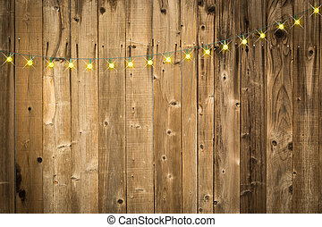 Lustrous Wooden Background with String of Lights - Lustrous...