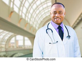 escritório, doutor, hospitalar, americano, africano, macho, dentro