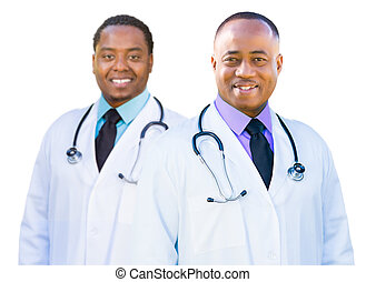 Two frican American Male Doctors Isolated on a White...