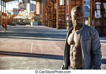 Hot buff black man posing - Portrait of a hot black man in...