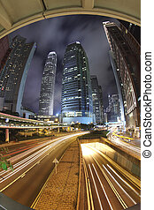 traffic in Connaught Rd Central at night - the traffic in...