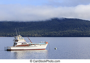 yachting boat in te anau lake fiord land national park new...