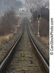 Railway track near village Zalany with big slope