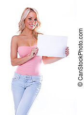 sexy girl holding a blank page