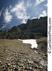 Melting snow pack - A patch of melting snow in the mountains...