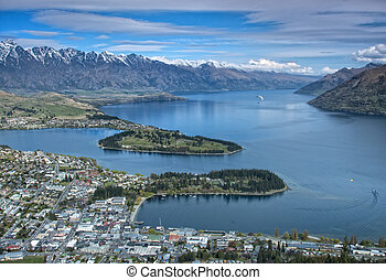Queenstown - Arial view of Queenstown in New Zealand