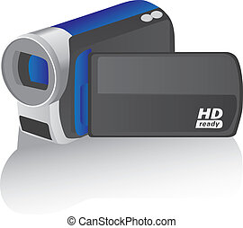 camcorder vector illustration - blue vector hd camcorder -...