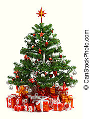 Christmas tree with heap of red gift boxes decorated with...