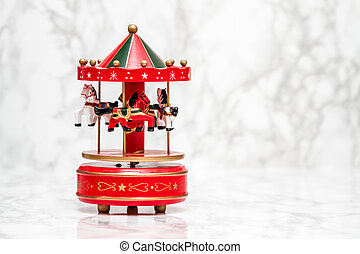 Red Wooden Carousel Horses with Old Vintage Look