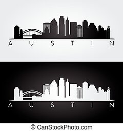 Austin skyline silhouette - Austin USA skyline and landmarks...