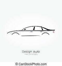 Sedan car Silhouette Design.