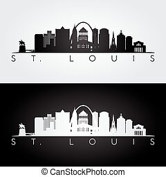 St. louis skyline silhouette - St. louis USA skyline and...