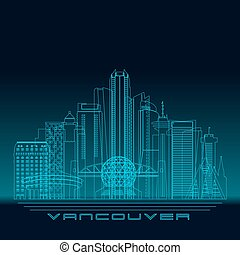 Vancouver skyline silhouette. - Vancouver skyline, detailed...