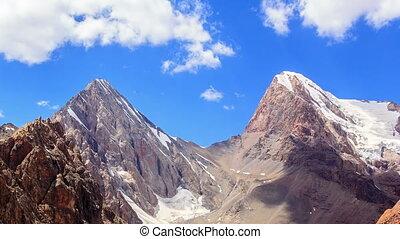 Mountain pass Chimtarga. (4740 m.) TimeLapse. Fans,...