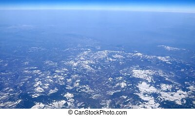 Snowy mountains from the aircraft
