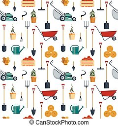 Seamless pattern farm tools flat-vector illustration. Garden instruments icon collection. Farming equipment