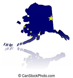 Alaska map flag with reflection