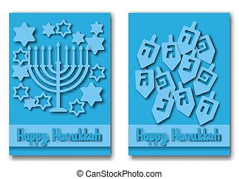 Happy Hanukkah greeting cards design. Vector illustration...