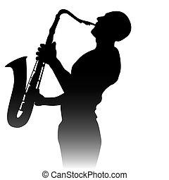 silueta, saxofon, hráč