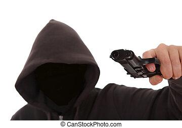 desconocido, peligroso, arma de fuego, atacante