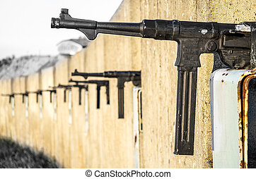 sub machine gun trench wall