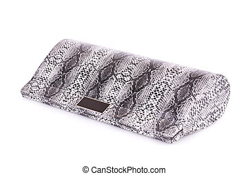 Clutch bag - Gray leather clutch bag isolated on white...