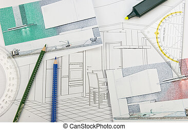 Plan scribble of a built-in-kitchen