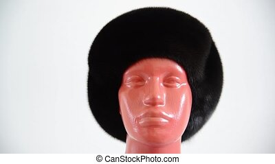 black beret from natural mink on mannequin - black beret...