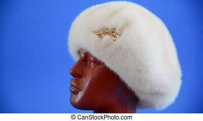 pearly beret from natural mink on mannequin. - pearly beret...