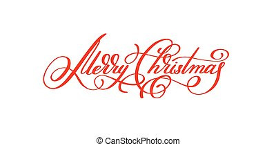 merry christmas red handwritten lettering inscription holiday phrase