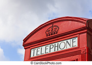 Close up of Classic London Red Telephone Box - Close up of...