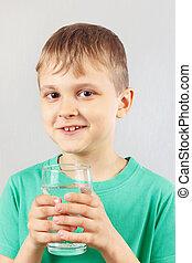 Menino, pequeno,  mineral, água, vidro, fresco, loiro