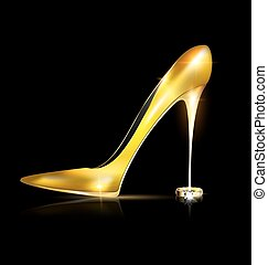 golden shoe and ring - dark background and the ladys golden...