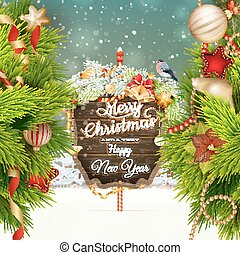 Wooden banner with Christmas Fir-tree branches. EPS 10...