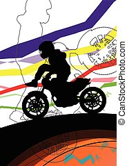 Sport motorbike riders and motorcycles silhouettes abstract illustration background