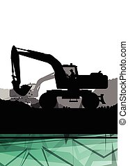 Digger excavator machinery digging action in construction...