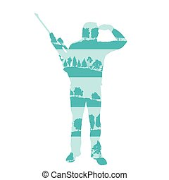 Hunter silhouette with rifle vector background concept made of forest trees fragments isolated