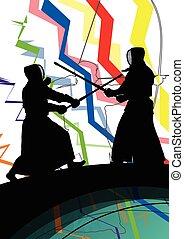 Japanese Kendo sword martial arts active fighters sport...