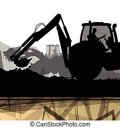Digger excavator machinery digging action in construction site abstract background