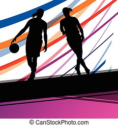 Basketball players young active women healthy sport silhouettes vector background