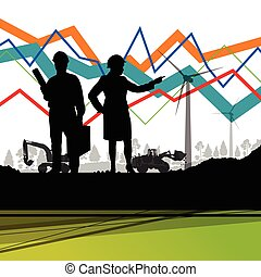 Economics data chart and engineers silhouettes and mobile...