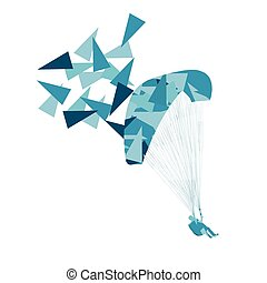 Paraglider flying vector background concept made of polygon...